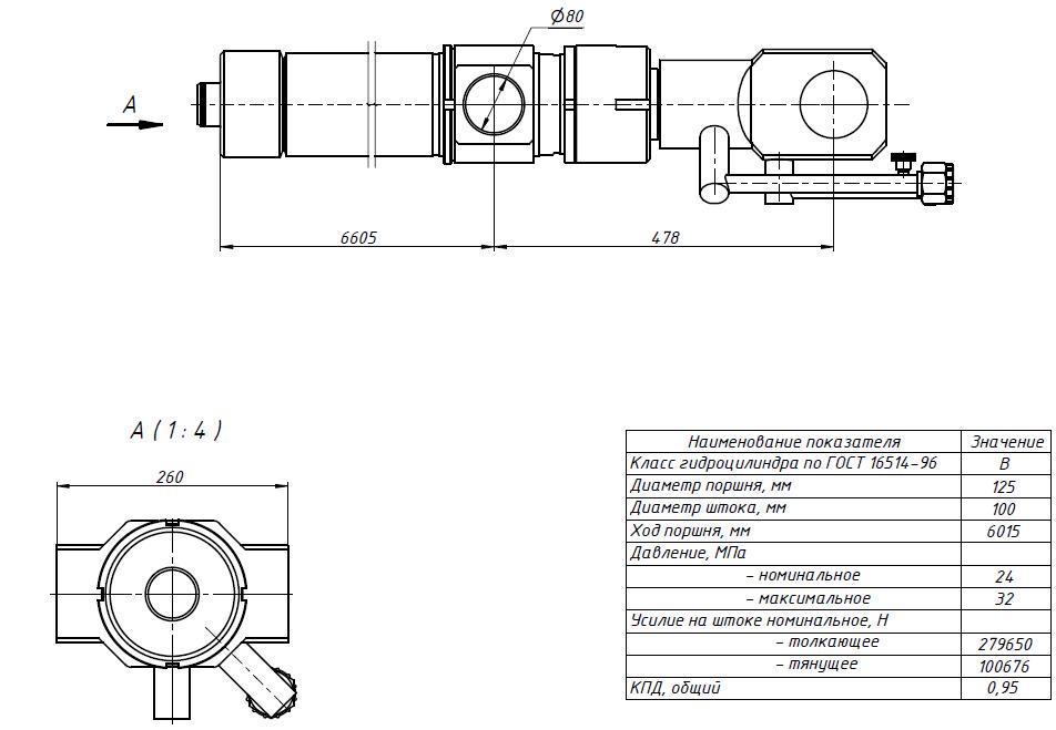 Гидроцилиндр КС-45724-8.63.900-2К-5 чертеж схема