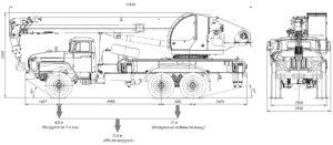 Автокран КС-5576-3-21 схема чертеж